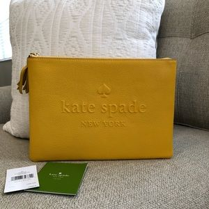 New Kate Spade Leather Makeup Pouch in Daffodil!